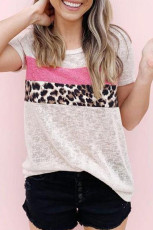 Bézs színű, kerek nyakú Leopard Patchwork póló