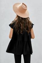 Czarna koszulka z krótkim rękawem i falbaną Babydoll