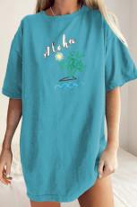 Sky Blue Aloha By The Beach Overseize Boyfriend Tee