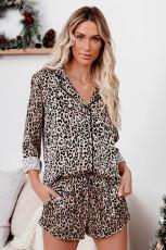 Leopárding és rövidnadrág pizsama szett