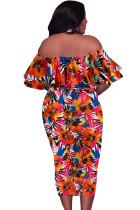 Orange Off Shoulder Floral Plus Size Midi Dress