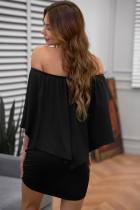 Vestir Múltiplas Layered Black Mini Poncho Dress