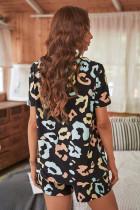 Zwart luipaard T-shirt en short met trekkoord