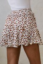 Mini spódniczka mini z nadrukiem morelowym i marszczonym dołem