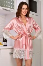 Dantel Süslemeli Pembe Saten Kimono Robe