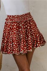 Trapezowa mini spódniczka mini z czerwonym nadrukiem