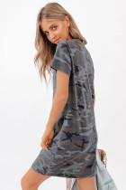 پنبه ای مینی لباس تی شرت چاپ کامو مخلوط