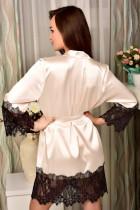 Dantel Şeritli Kayısı Saten Kimono Robe