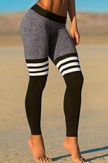 Striped Splicing Yoga Fitness Activewear Leggings