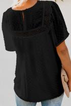 Top babydoll con mangas onduladas negras con textura transparente