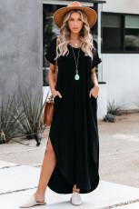 Yırtmaçlı Siyah Gevşek Fit Pamuk Karışımı V Yaka Maksi Elbise