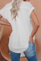 Camisa de manga corta con botones de lino blanca