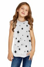 Camiseta sin mangas blanca para niña pequeña con estampado de estrellas