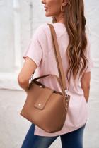 Brown Vegan Leather Casual Messenger Bag