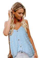 Camiseta sin mangas con botones suizos en el frente azul
