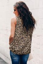 Camiseta sin mangas con cuello con volantes y estampado de leopardo
