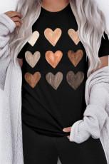 Camiseta negra con cuello redondo Be Kind Heart