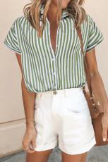 Blusa estampada de rayas con botones verde de manga corta