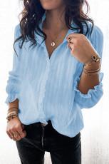 قميص كشكش بأكمام منفوخة أزرق سماوي