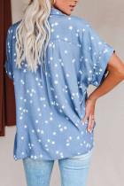 قميص بأكمام مطبعة بنقشة نجوم أزرق سماوي