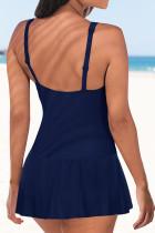 فستان سباحة برباط أزرق بكشكش للتحكم في البطن