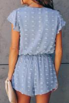 آستین کوتاه بافت آبی گردن عمیق V نقطه آستین کوتاه