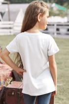 تي شيرت أبيض مخطط للفتيات