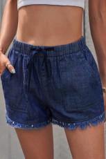 Mörkblå Casual Pocketed Frayed Denim Shorts