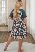 Midi šaty s květinovým kontrastem v nadměrné velikosti