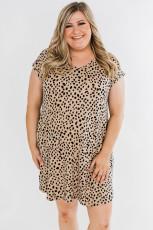 لباس مینی سایز بزرگ خاکی وحشی خالدار