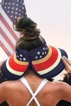 Hvězdný a pruhovaný skládací slaměný klobouk