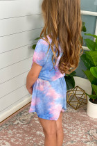 Gök Mavisi Batik Kısa Kollu Küçük Kız Tulum