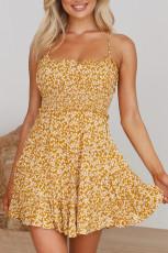 Gelbes Spaghettiträger-Rüschenblumenkleid