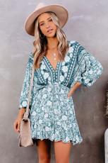 گردن V گردن آستین 3/4 آستین Bohemian Vintage چاپ لباس کوتاه