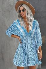 Sky Mini V Veck 3/4 Sleeve Bohemian Vintage Print Mini Dress
