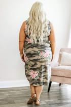 Robe longue camouflage sans manches à fleurs de grande taille