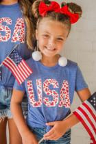 Vanhempien ja lasten vastaava USA Leopard Print Lasten t-paita