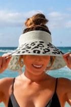 Aprikoosi Messy Bun Leopard Wide Brim Straw Beach Hat