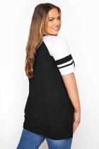 ブラッククリスクロスVネックラグランスリーブプラスサイズTシャツ