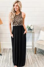 Ujjatlan leopárd mellény zsebes maxi ruha