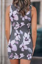 Virágmintás üreges pakolás nyakkendő mini ruha