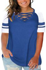 블루 크리스 크로스 V 넥 라글란 슬리브 플러스 사이즈 티셔츠