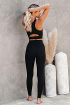 Fekete Crop jóga melltartó és magas derékú nadrág sportruházat