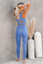 Sky Blue Crop jóga melltartó és magas derékú nadrág sportruházat
