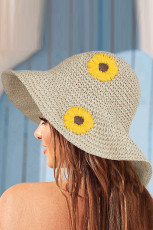 Chapeau de paille tricoté à la main plié à motif tournesol marron