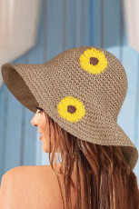 Chapeau de paille tricoté à la main plié à motif tournesol beige