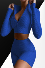 لباس ورزشی دو تکه زیپ جامد تا تمرین را بپوشید