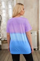 T-shirt de grande taille à col ras du cou violet et tie-dye