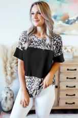 تي شيرت أسود بطبعة جلد الفهد