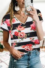 Virágos V nyakú Colorblock póló